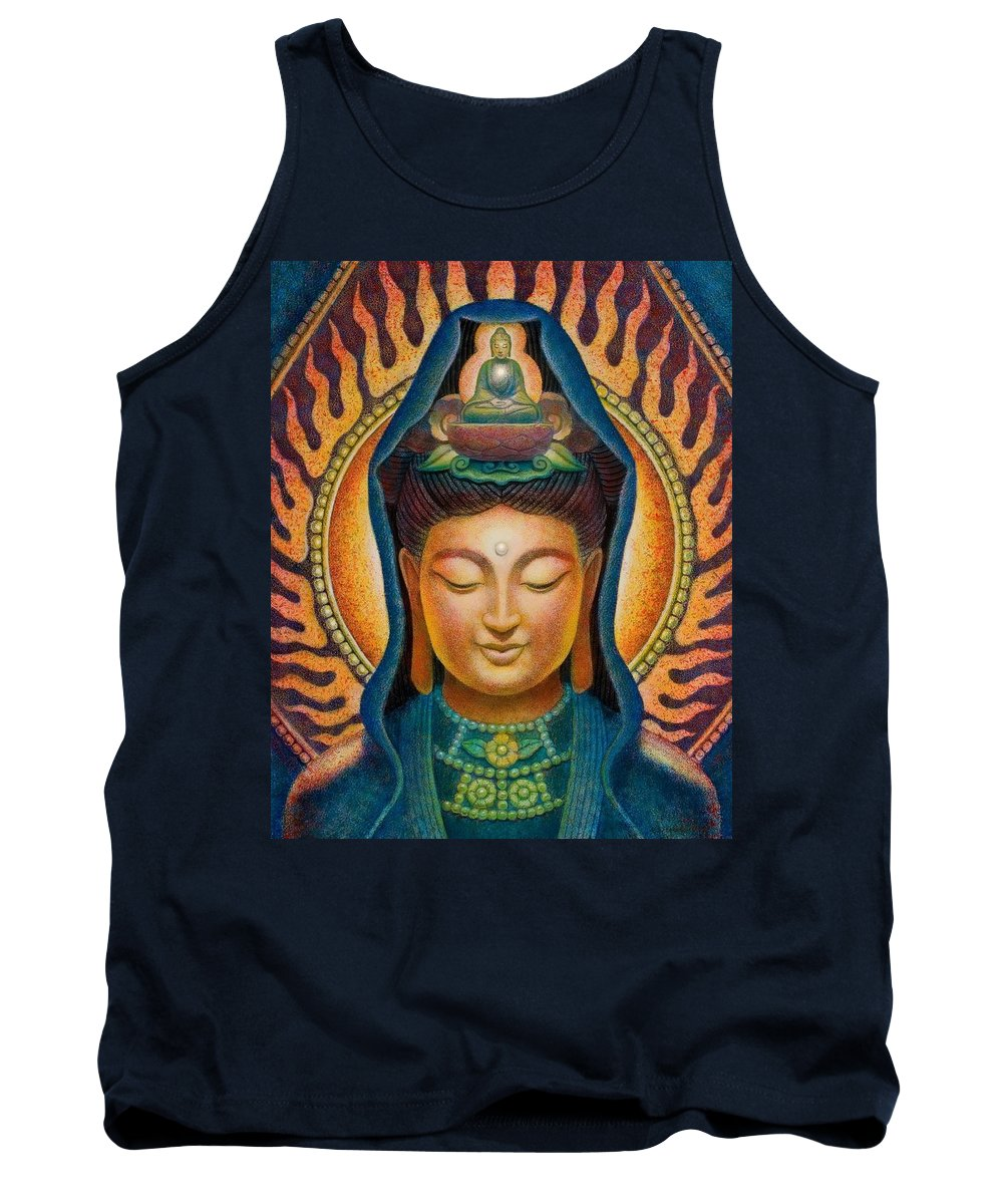 Zen Tank Top featuring the painting Kuan Yin Flame by Sue Halstenberg