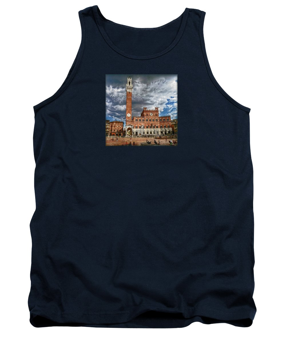 Piazza Tank Top featuring the photograph La Piazza by Hanny Heim