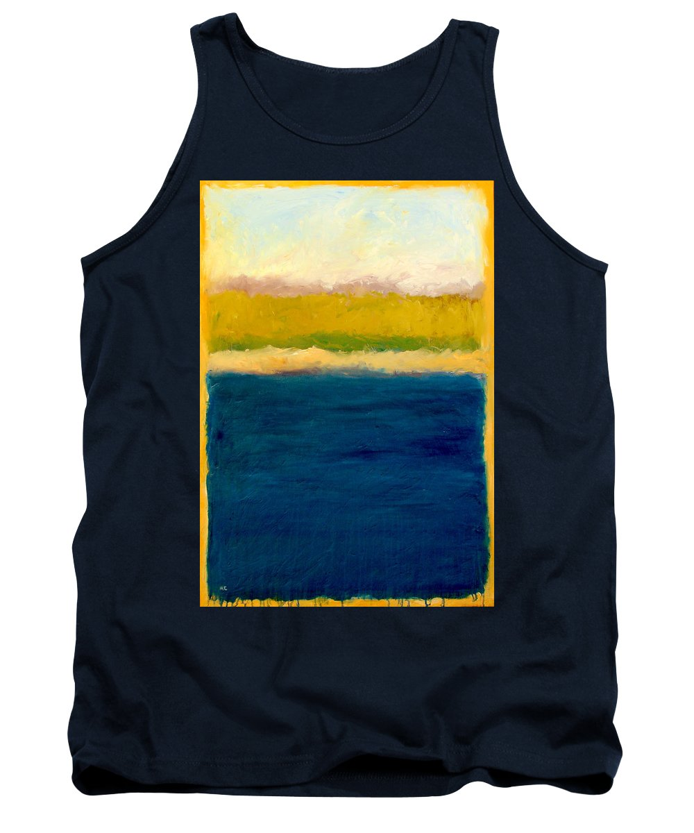 Dunes Tank Top featuring the painting Lake Michigan Beach Abstracted by Michelle Calkins
