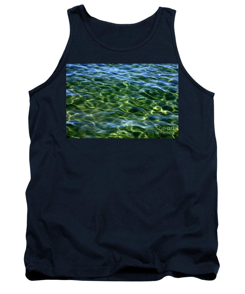 Green Tank Top featuring the photograph Lake Tahoe Swirls by Carol Groenen