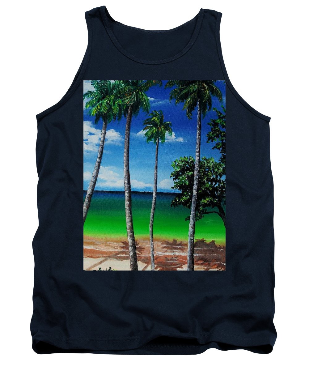 Trinidad Seascape Tank Top featuring the painting Las Cuevas Bay by Karin Dawn Kelshall- Best