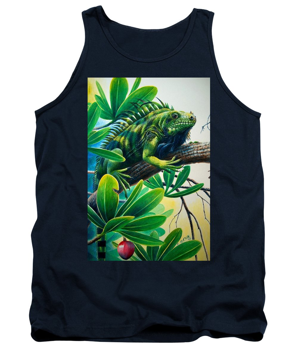 Iguana Tank Top featuring the painting Lazin' Iguana by Christopher Cox