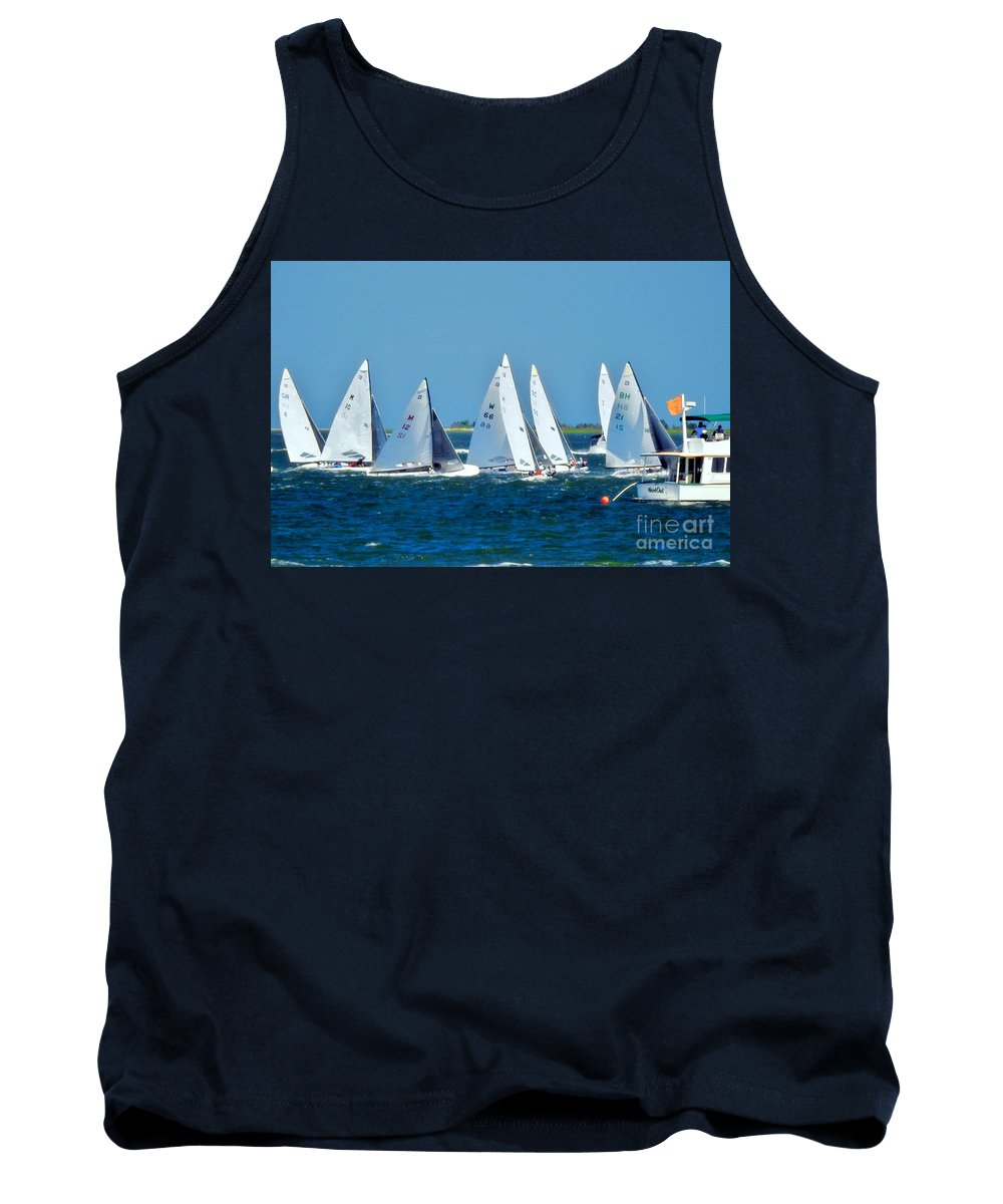 E-scows Tank Top featuring the photograph Leaving The Harbor by Scott Cameron