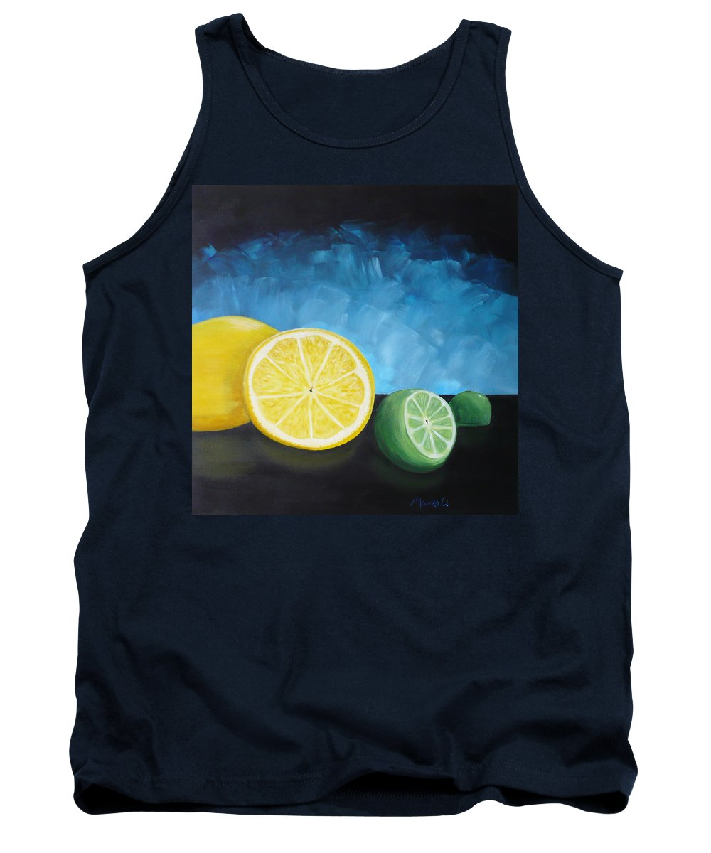 Lemon Tank Top featuring the painting Lemon Lime by Monika Shepherdson