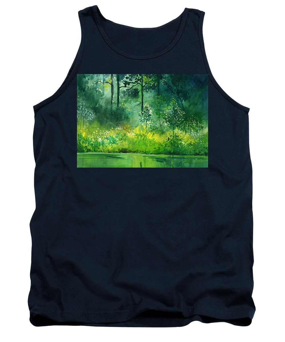 Water Tank Top featuring the painting Light N Greens by Anil Nene