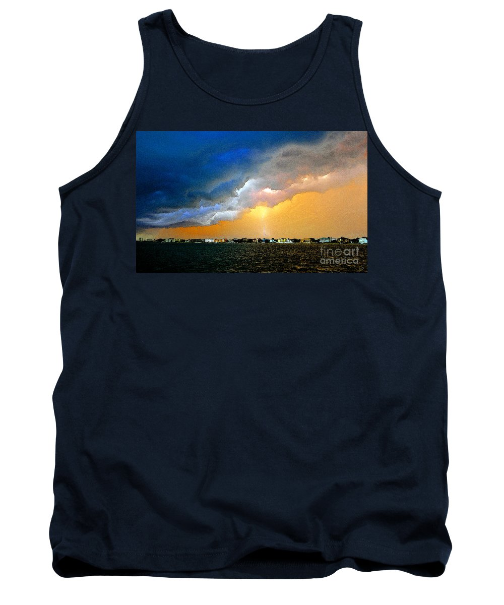 Lightning Tank Top featuring the painting Lightning Bolt by David Lee Thompson