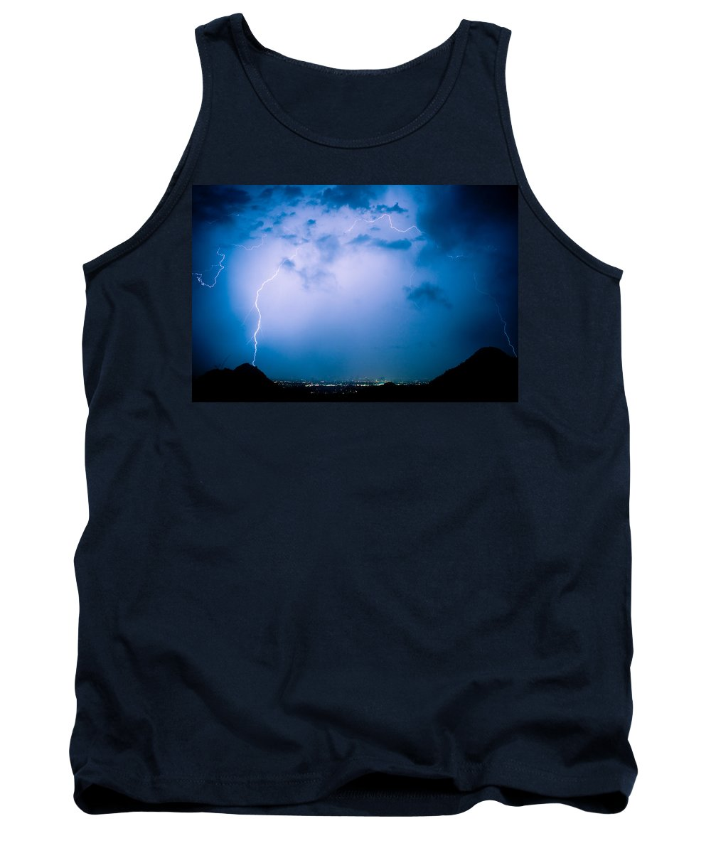 Lightning Tank Top featuring the photograph Lightning Rainbow Blues by James BO Insogna