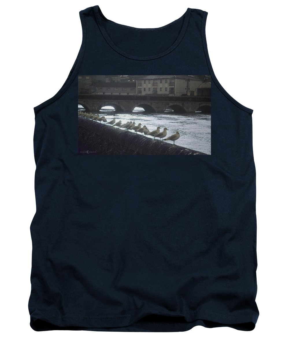 Birds Tank Top featuring the photograph Line Of Birds by Tim Nyberg