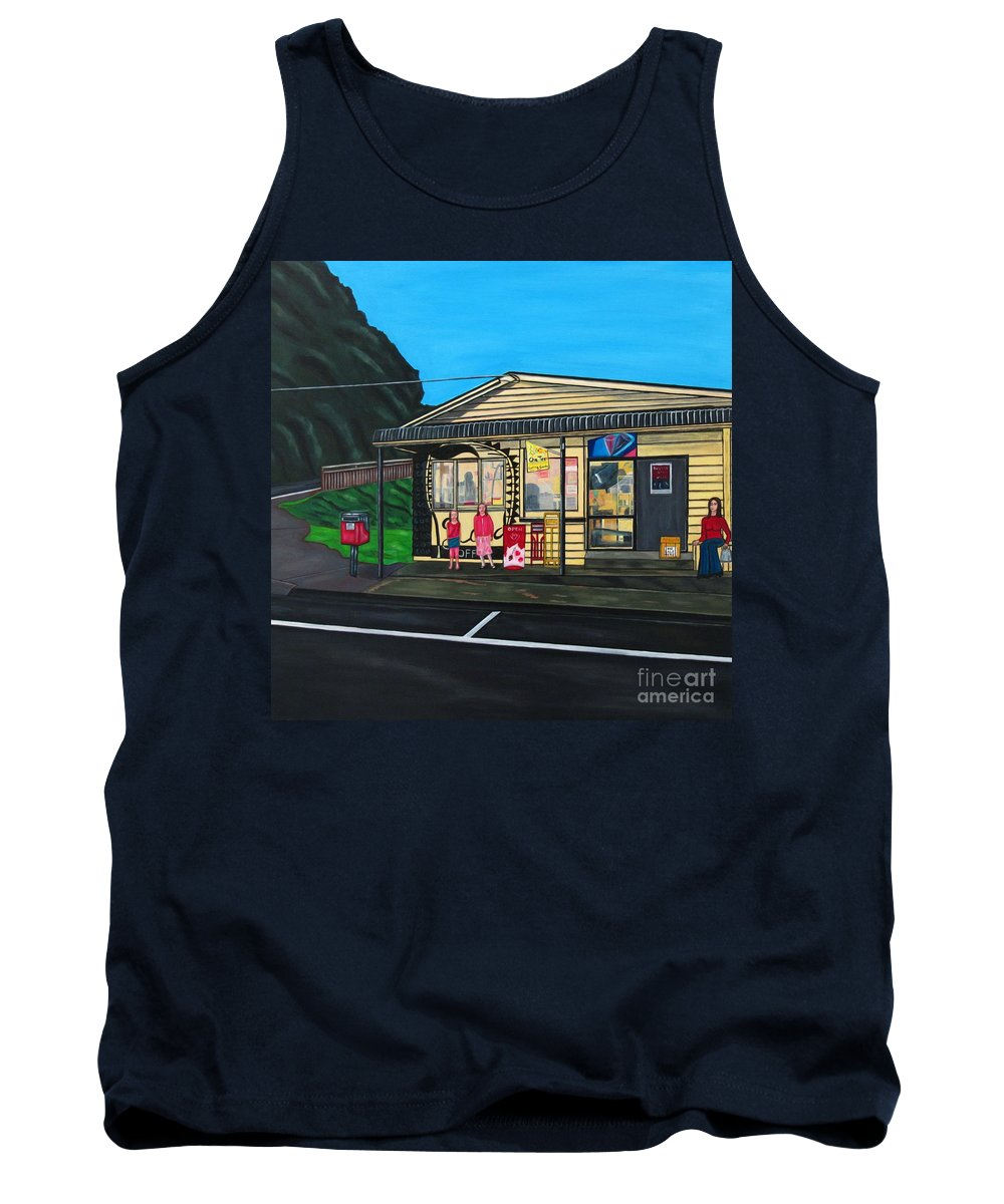 Buildings Tank Top featuring the painting Little Oneroa Store by Sandra Marie Adams