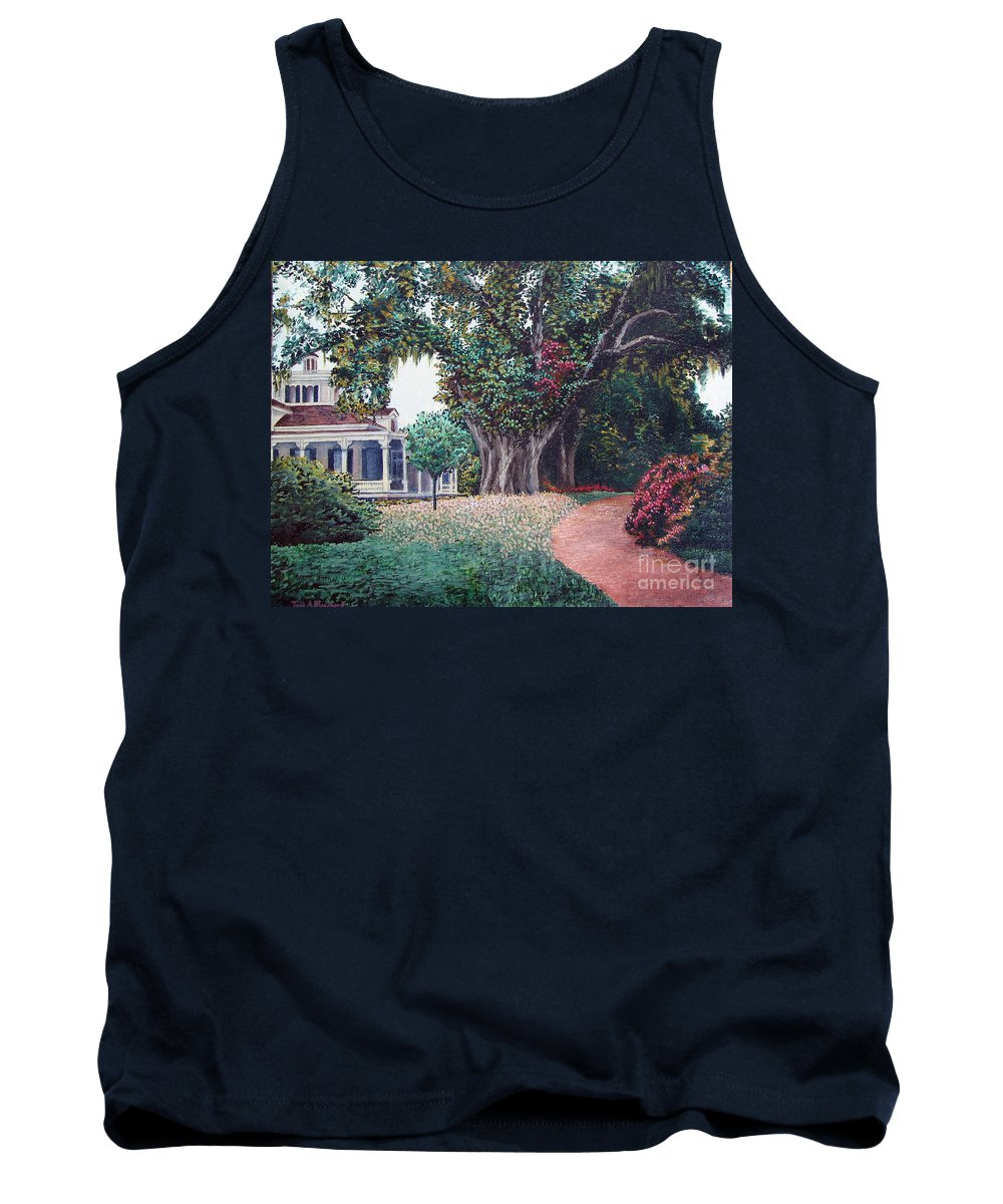 Landscape Tank Top featuring the painting Live Oak Gardens Jefferson Island La by Todd Blanchard