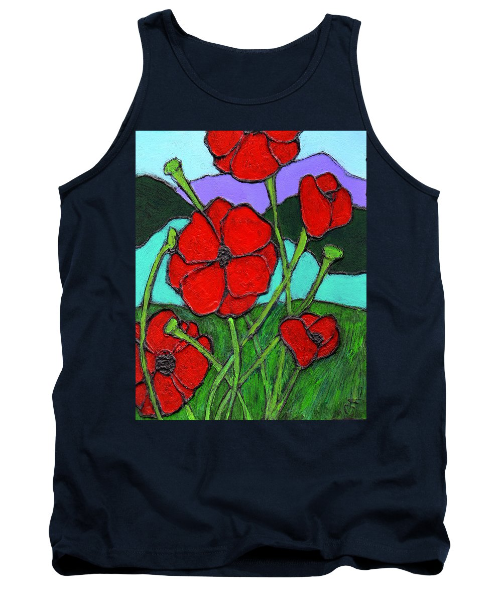 Poppies Tank Top featuring the painting Looking Up by Wayne Potrafka