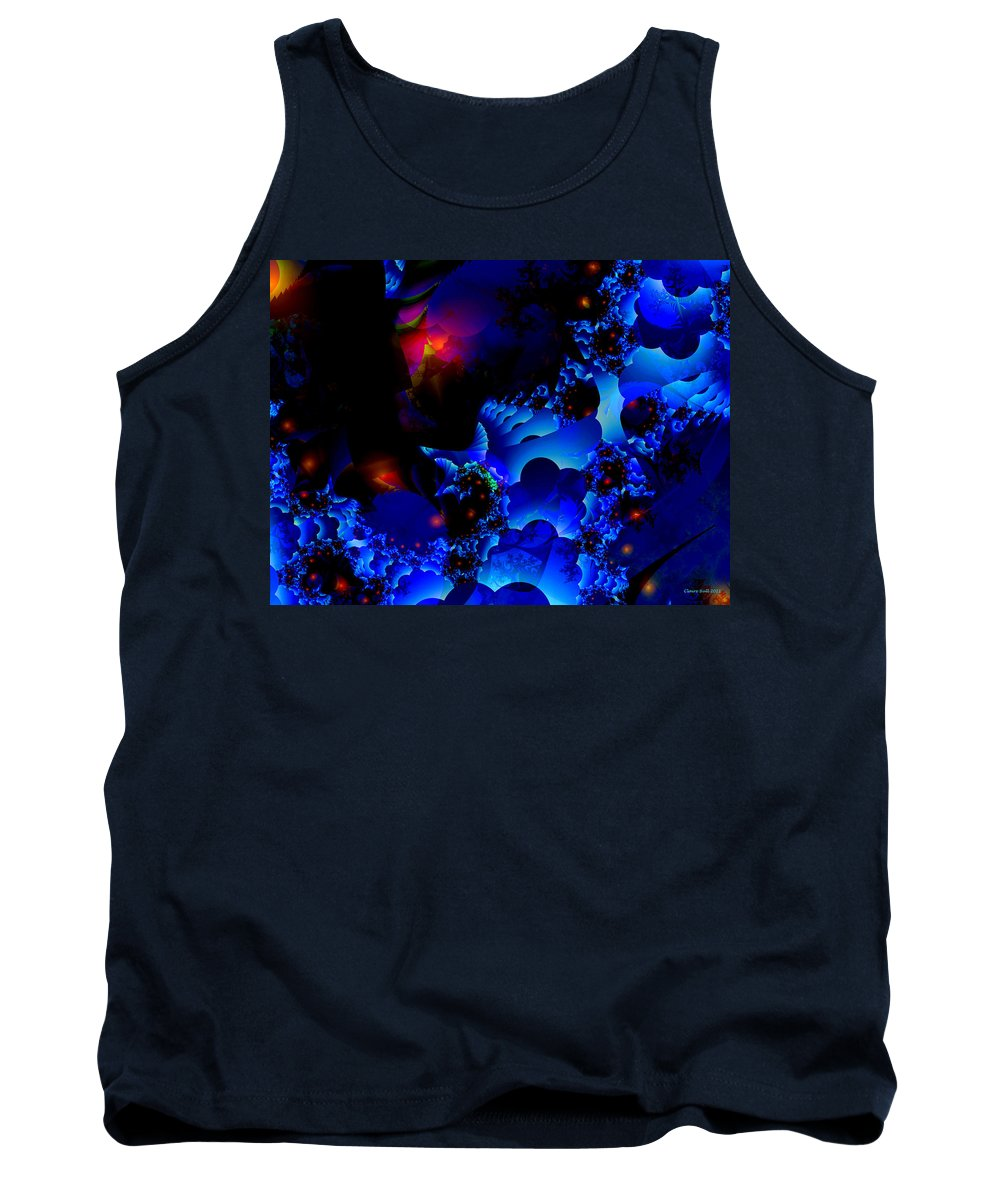 Blue Tank Top featuring the digital art Magic Steps by Claire Bull