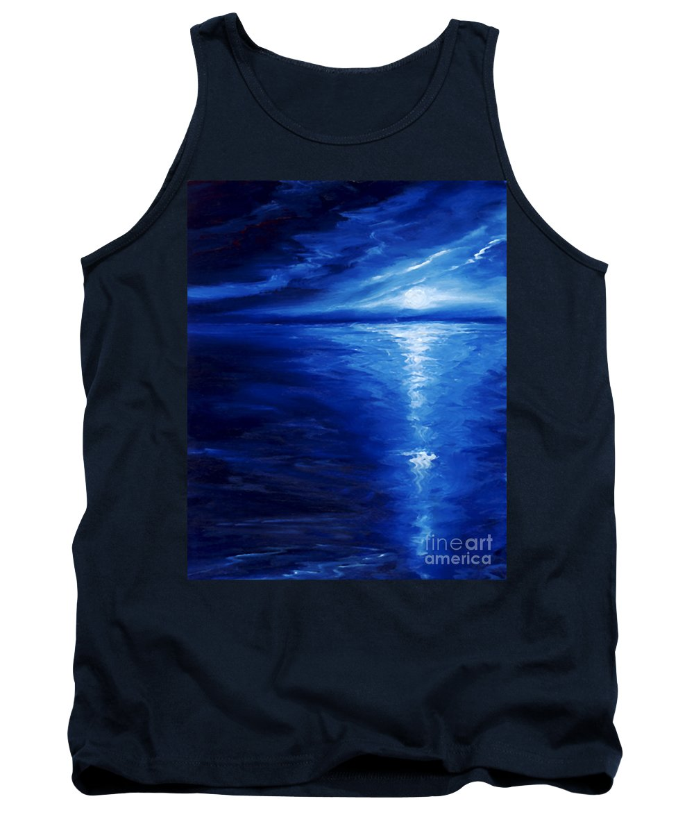 Blue Moon Tank Top featuring the painting Magical Moonlight by James Christopher Hill