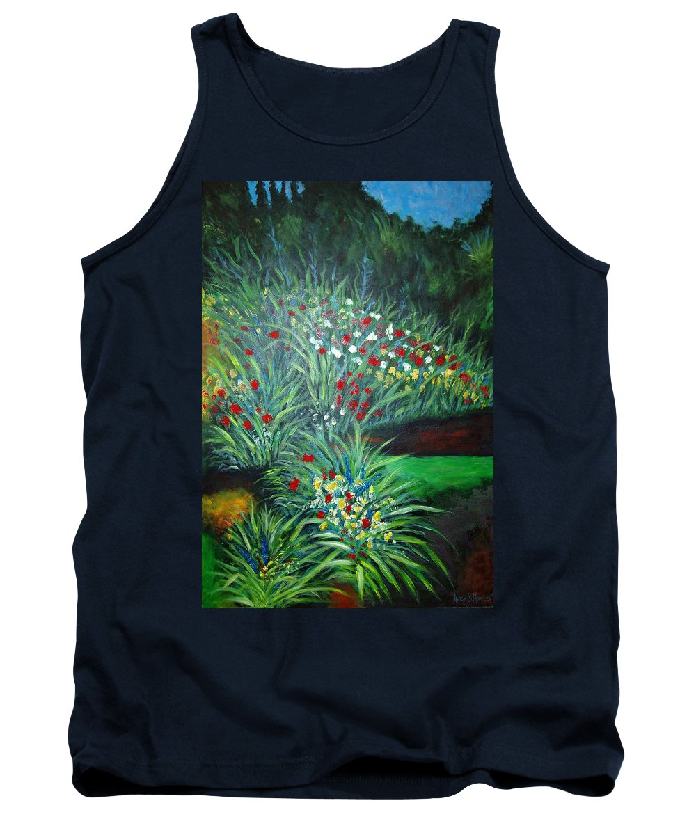 Landscape Tank Top featuring the painting Maryann's Garden 3 by Nancy Mueller
