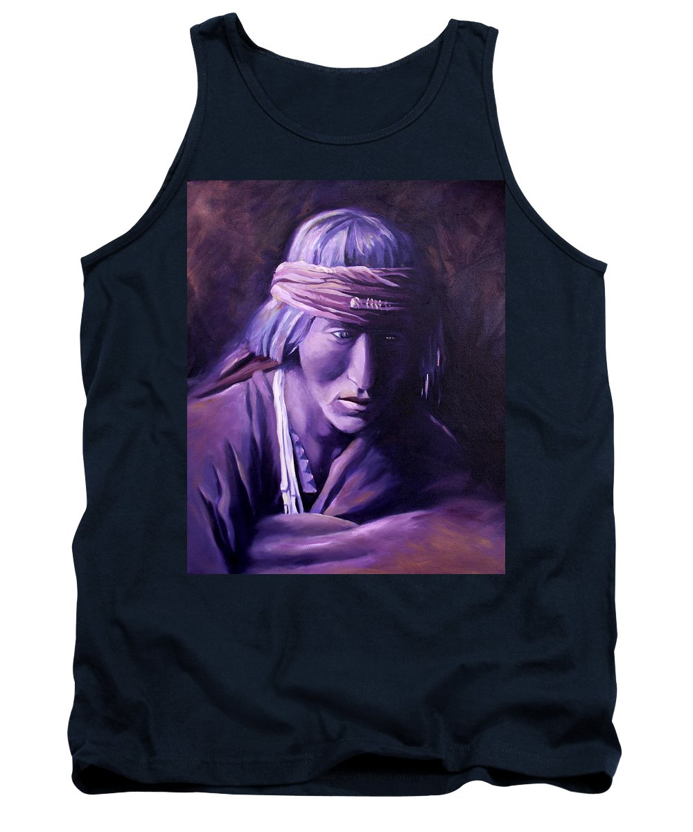 Native American Tank Top featuring the painting Medicine Man by Nancy Griswold
