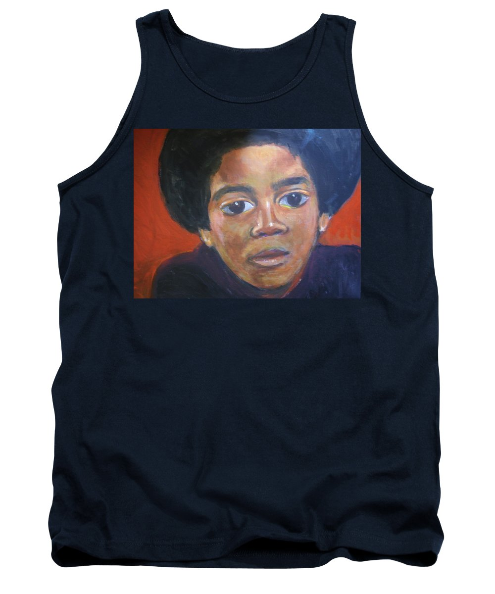 Michael Jackson Tank Top featuring the painting Michael Jackson by Jan Gilmore