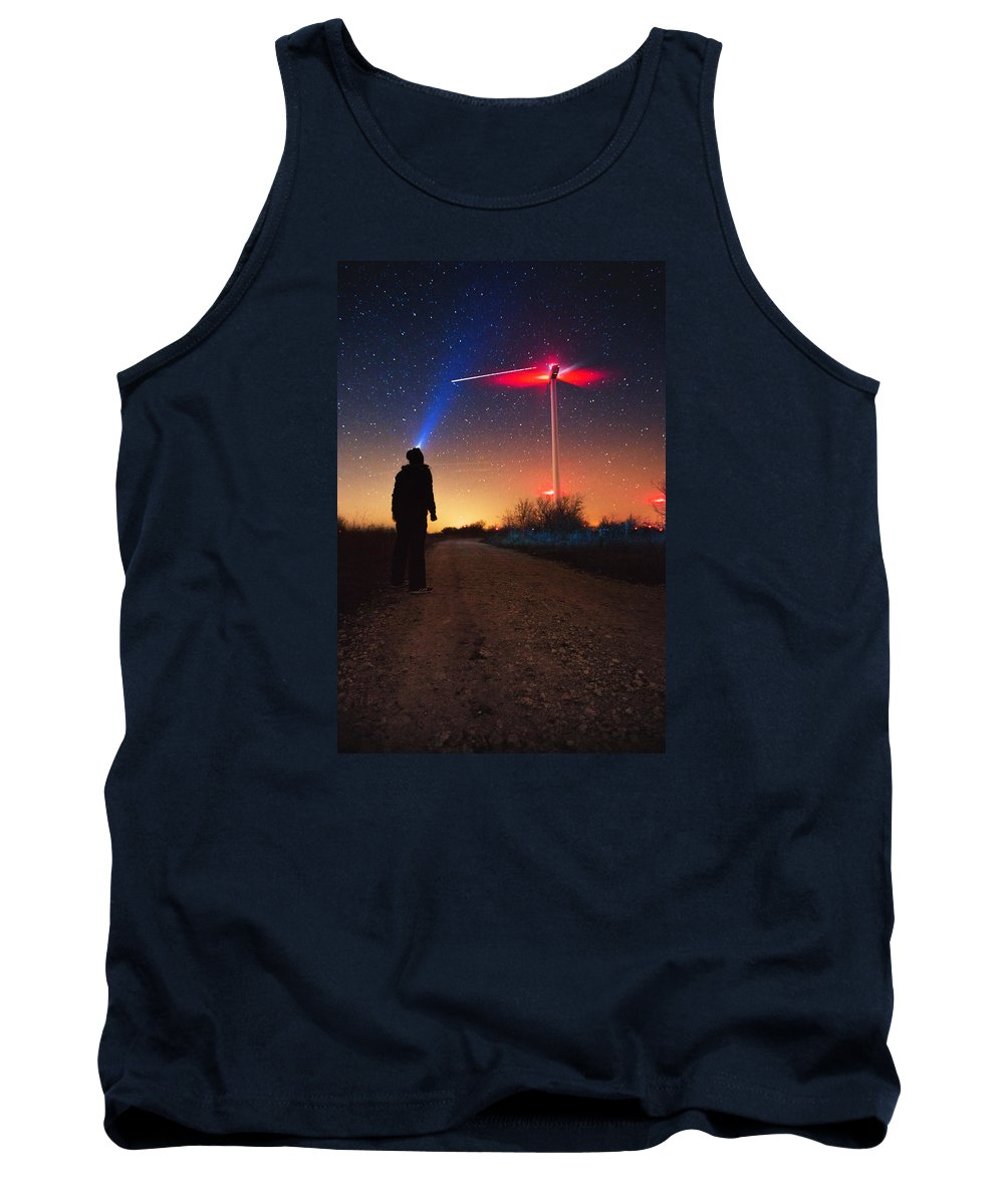 Sky Tank Top featuring the photograph Milky Way Over The Wind Turbine by Valentin Valkov