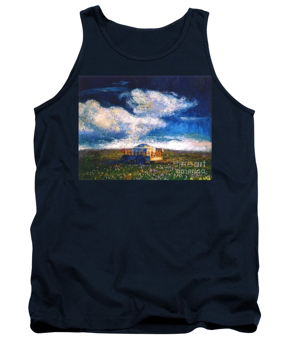 Momgolian Tank Top featuring the painting Mongolian Home by Meihua Lu