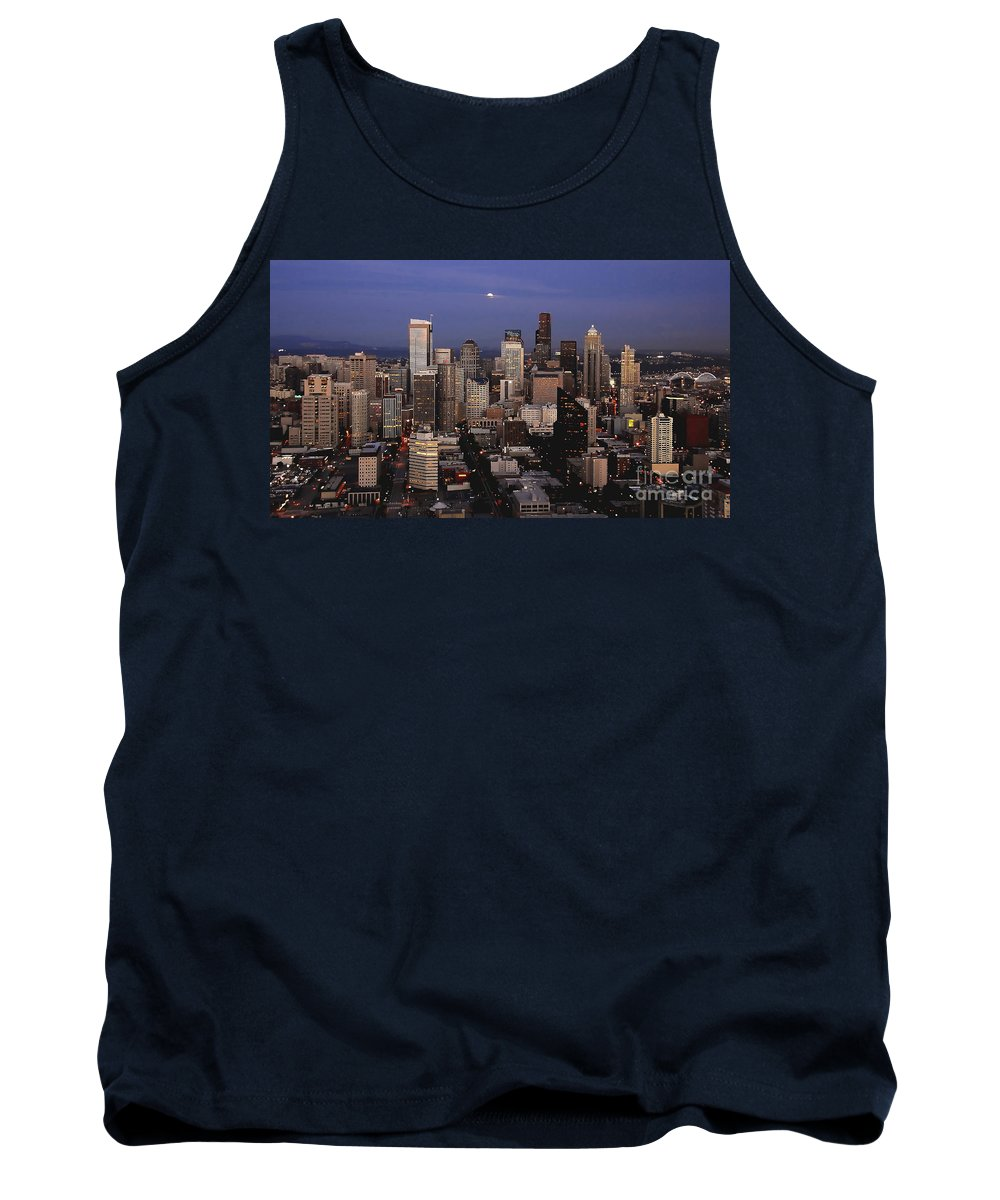 Seattle Tank Top featuring the photograph Moon Over Seattle by David Lee Thompson