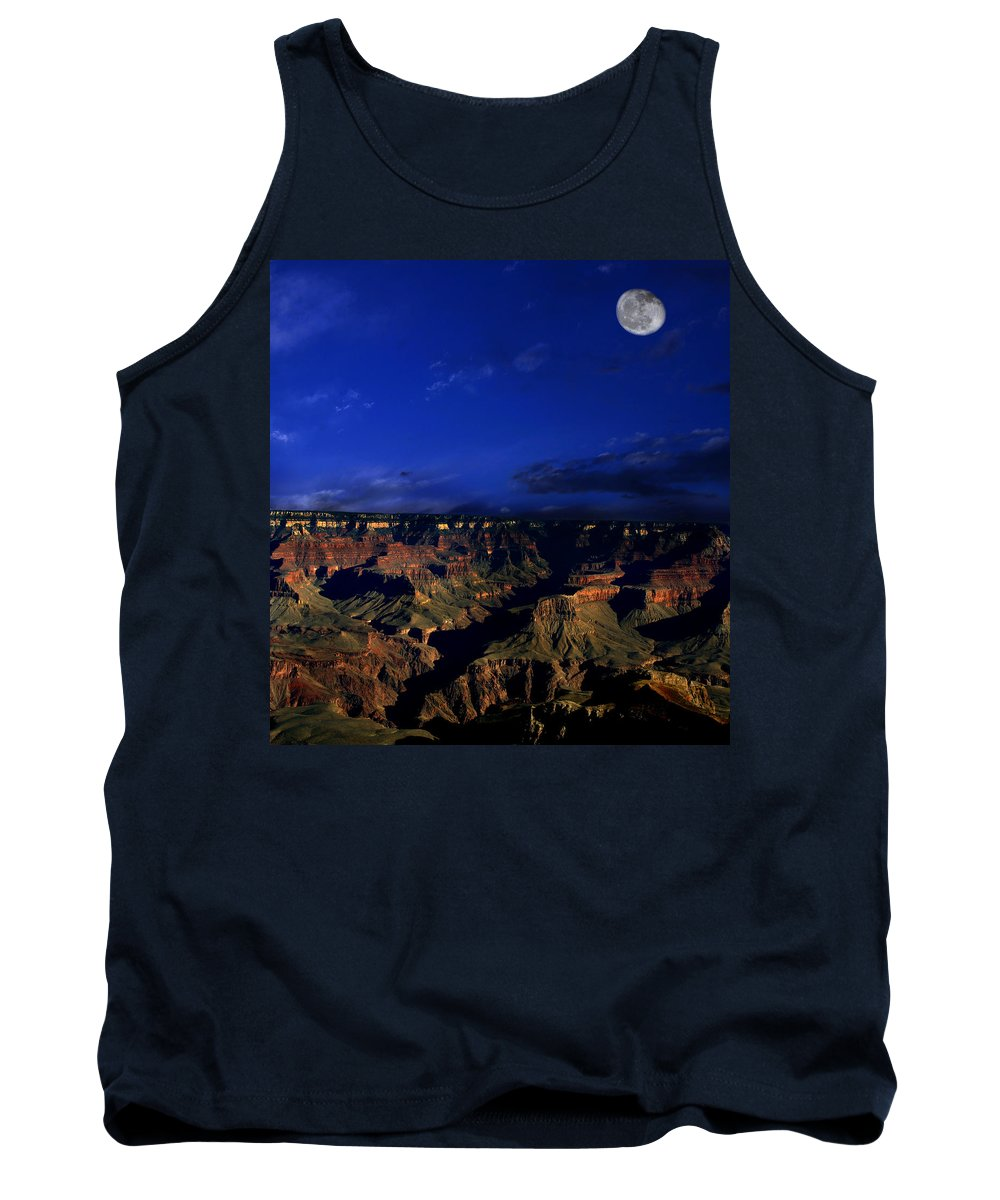 Grand Canyon Tank Top featuring the photograph Moon Over The Canyon by Anthony Jones