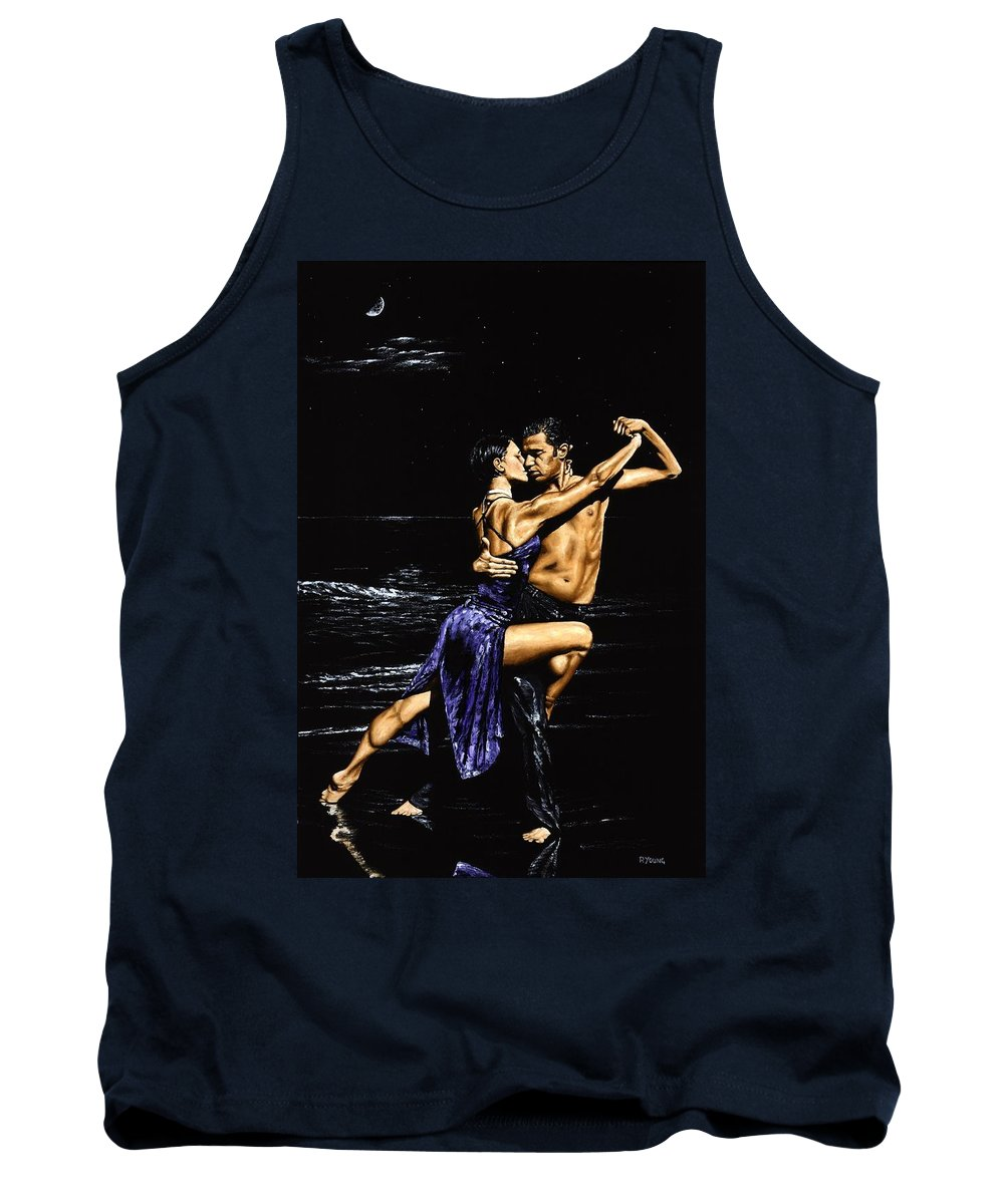 Moonlight Tank Top featuring the painting Moonlight Tango by Richard Young