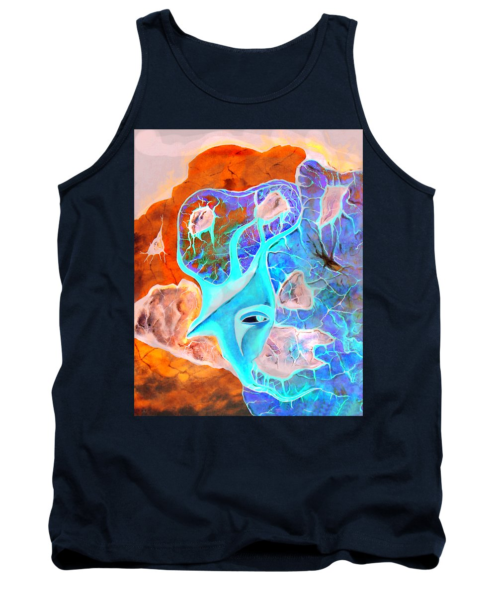 Surrealism Color Sky Haven Stones Tank Top featuring the painting More Seconds In My Head by Veronica Jackson