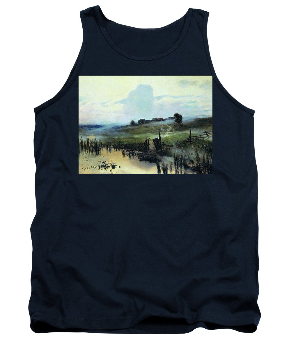 Lake Tank Top featuring the digital art Morning 1892 Apollinaris M Vasnetsov by Eloisa Mannion