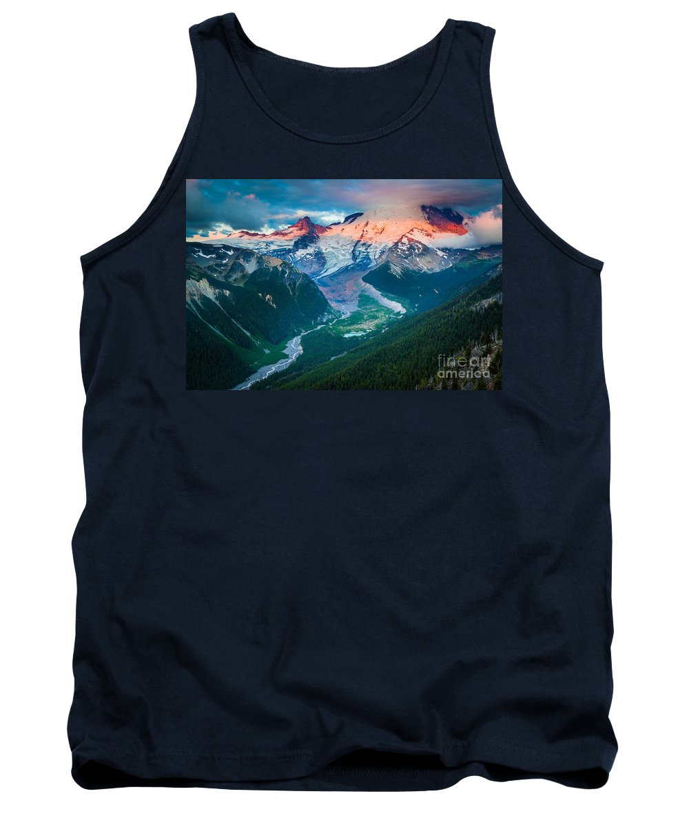 America Tank Top featuring the photograph Mount Rainier And White River by Inge Johnsson
