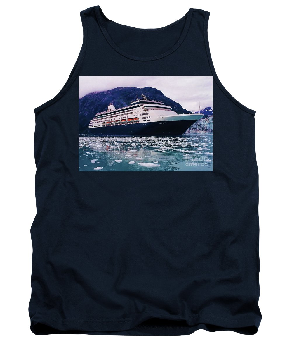 Ms Veendam Tank Top featuring the photograph ms Veendam - On - Ice by D Hackett