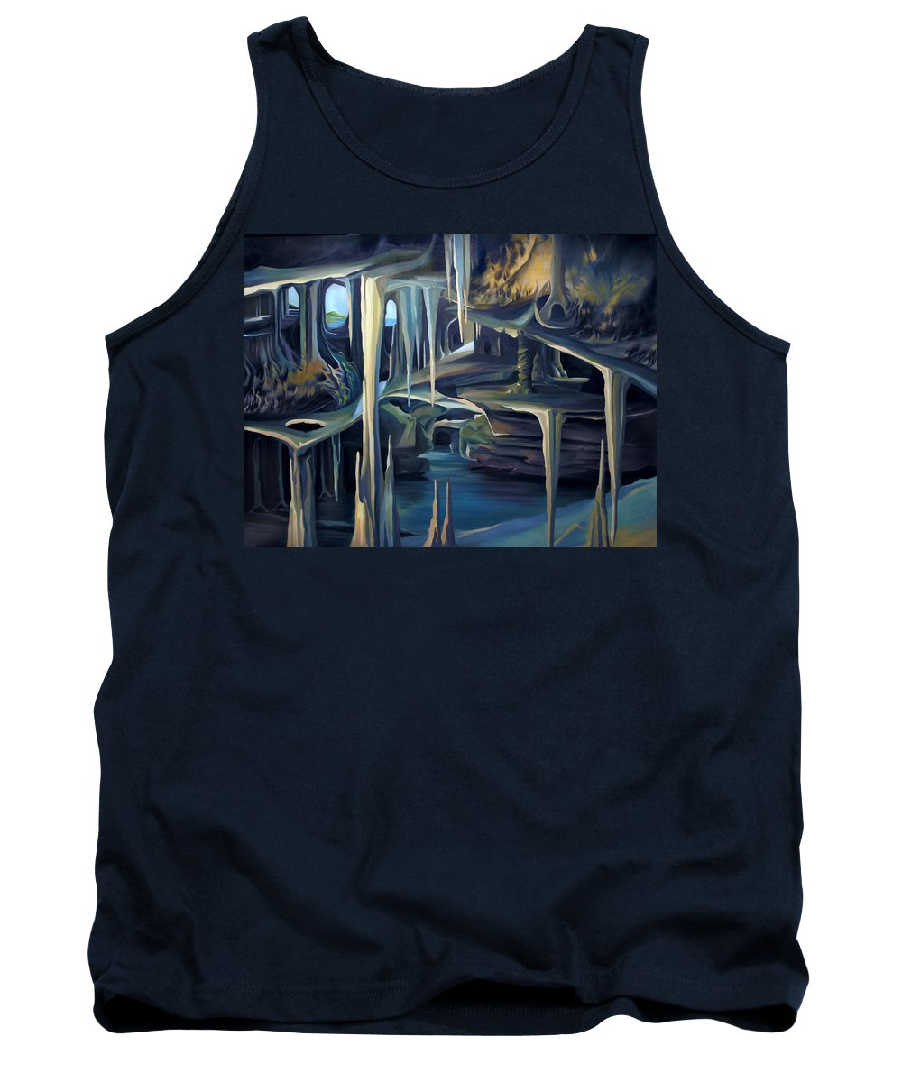 Mural Tank Top featuring the painting Mural Ice Monks In November by Nancy Griswold
