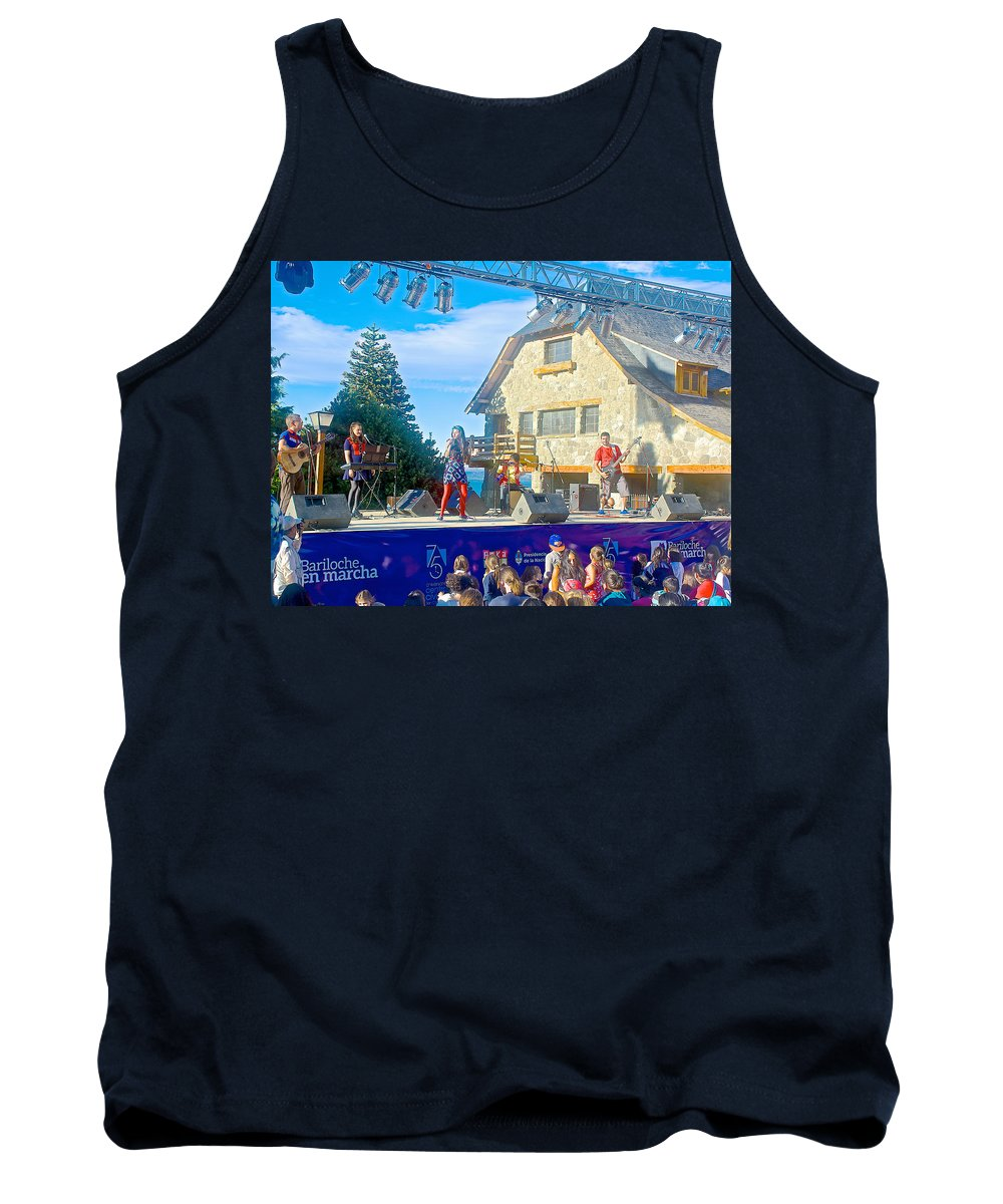 Musical Entertainment In Central Park In Bariloche Tank Top featuring the photograph Musical Entertainment In Central Park In Bariloche-argentina by Ruth Hager