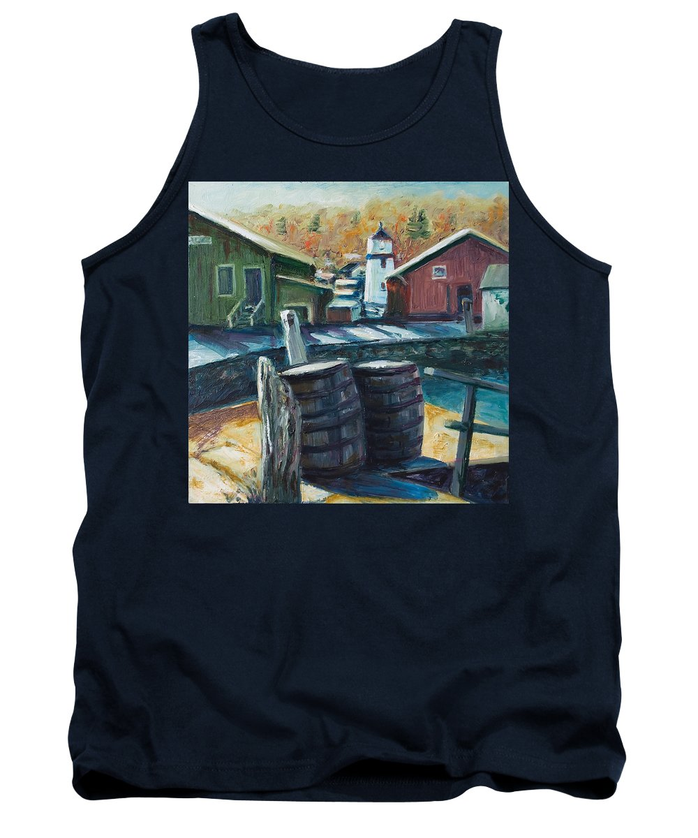 New England Tank Top featuring the painting Mystic Harbor by Rick Nederlof