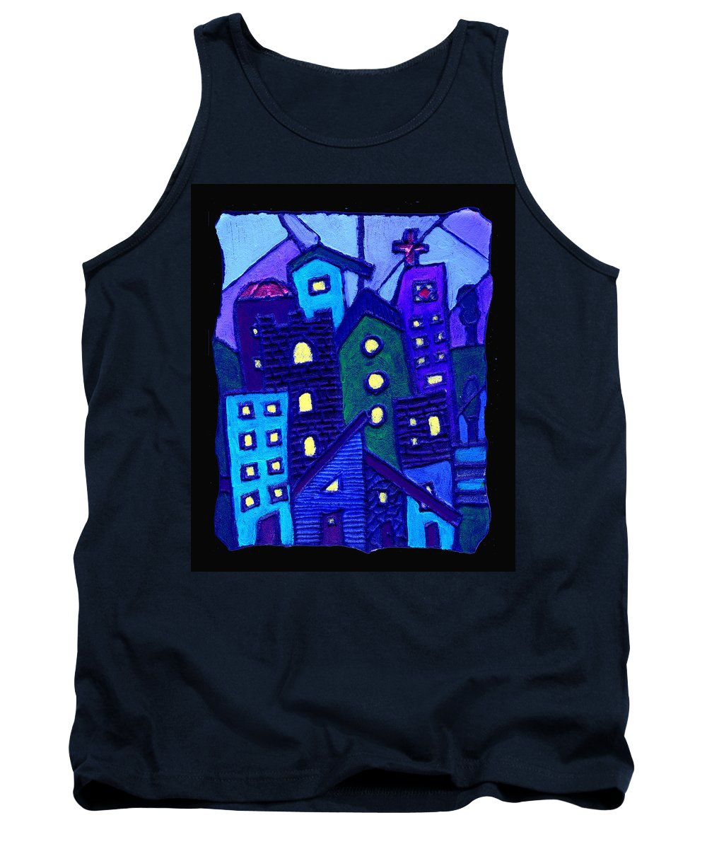 Urban Tank Top featuring the painting Neighborhood Blues by Wayne Potrafka