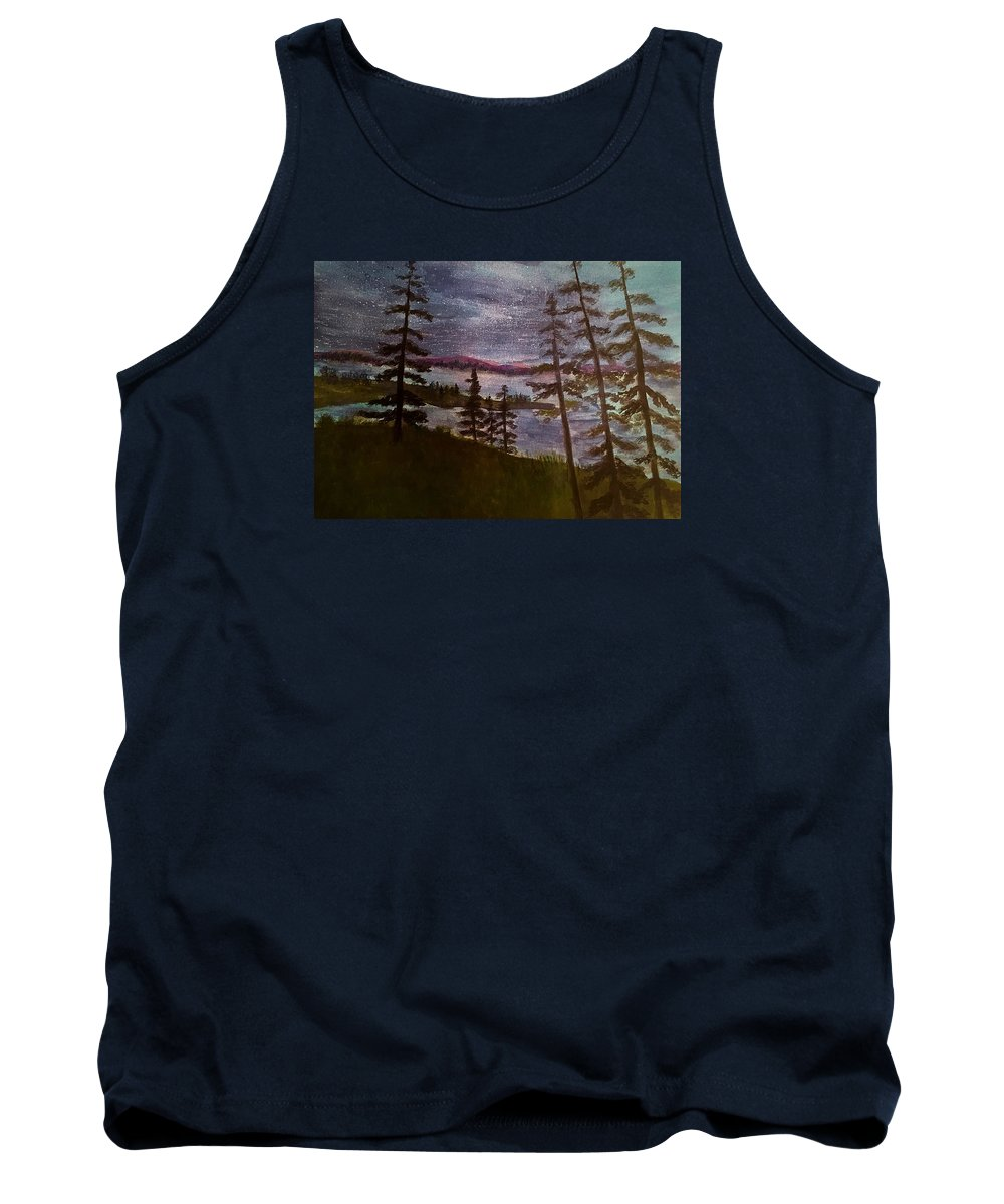 Rangely Maine Tank Top featuring the painting Nightime Rangely Lake Maine by Anne Sands