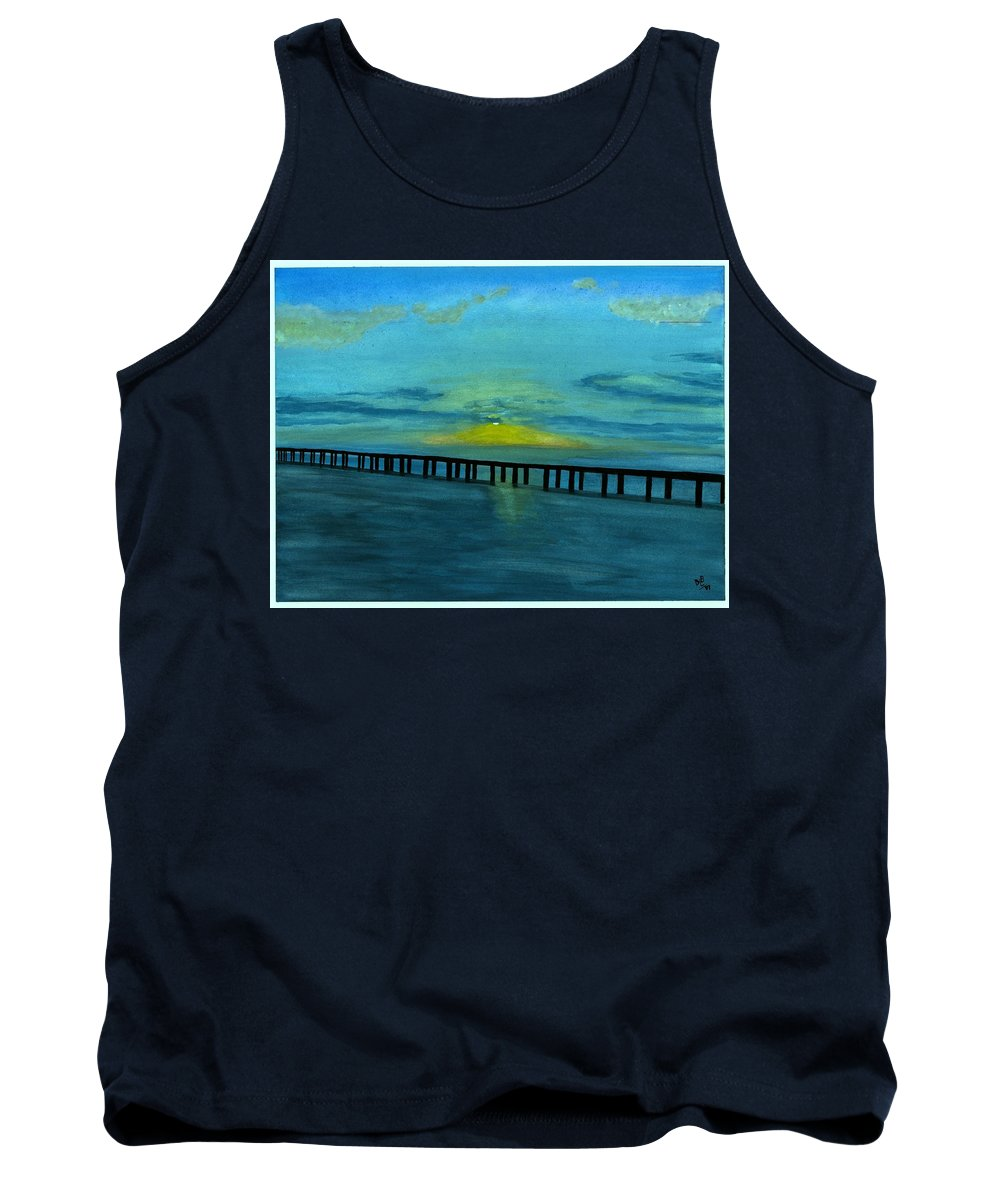 Ocean Tank Top featuring the painting Ocean Sunset by David Bartsch