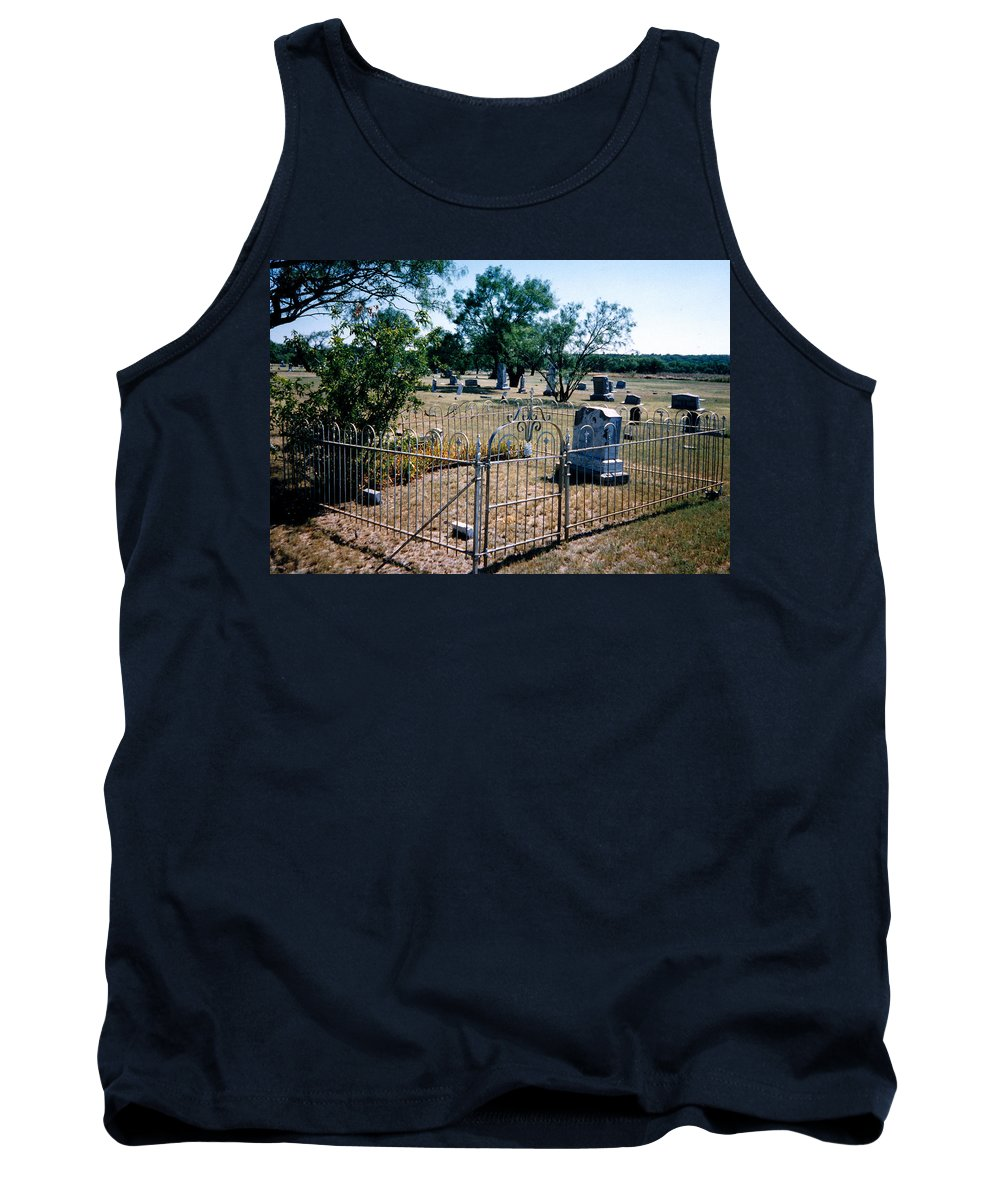Fence Grave Headstone Stones Tank Top featuring the photograph Old Grave Site 2 by Cindy New