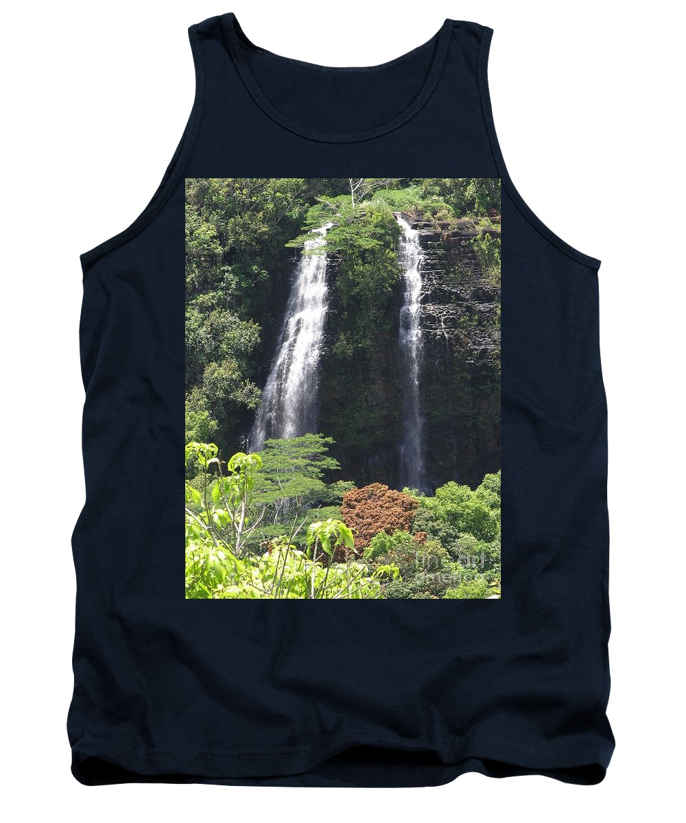 Mary Deal8waterfalls Tank Top featuring the photograph Opaekaa Falls On Kauai Before A Storm by Mary Deal