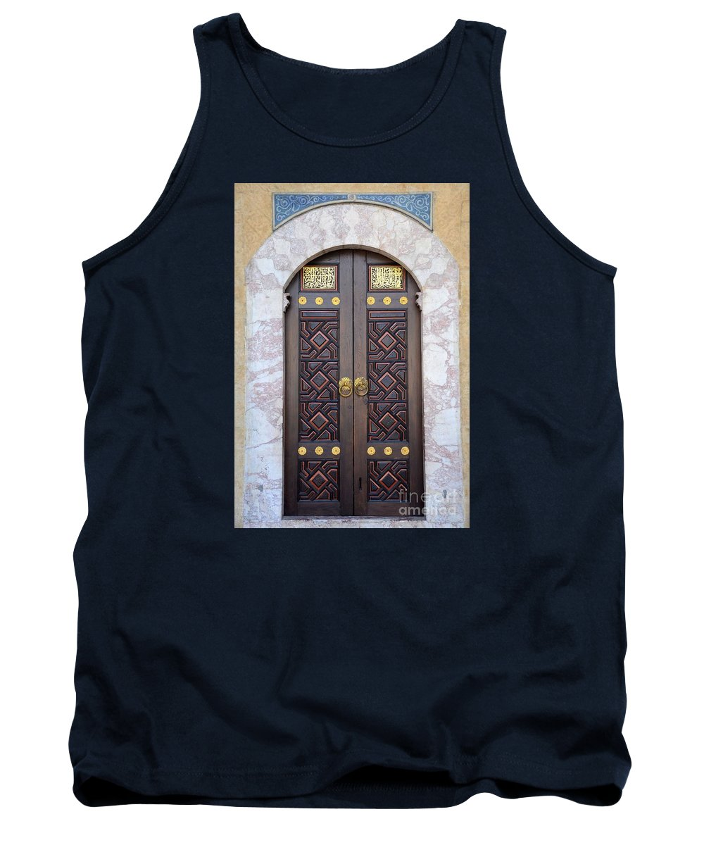 Door Tank Top featuring the photograph Ornately Decorated Wood And Brass Inlay Door Of Sarajevo Mosque Bosnia Hercegovina by Imran Ahmed