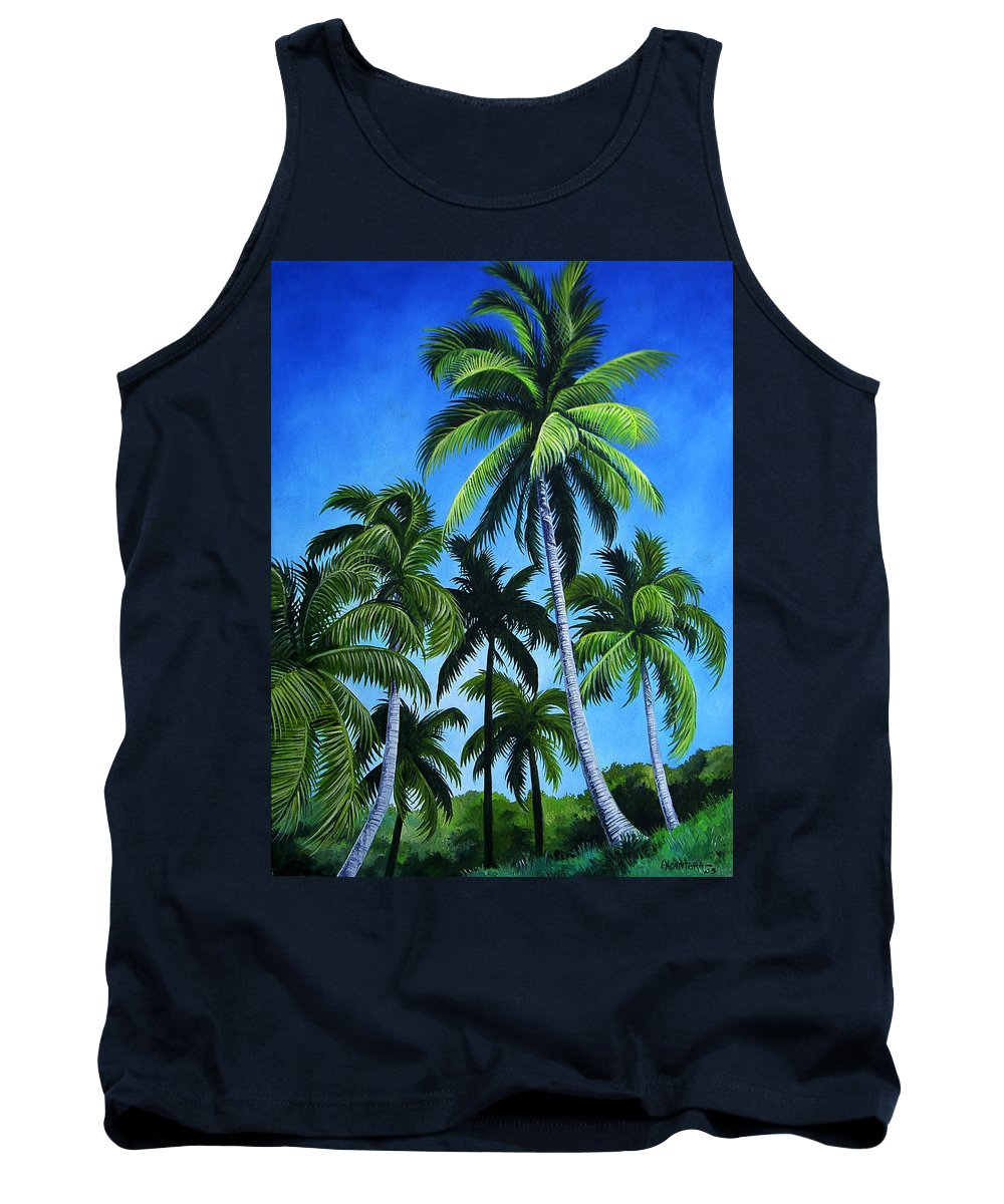 Palms Tank Top featuring the painting Palm Trees Under A Blue Sky by Juan Alcantara