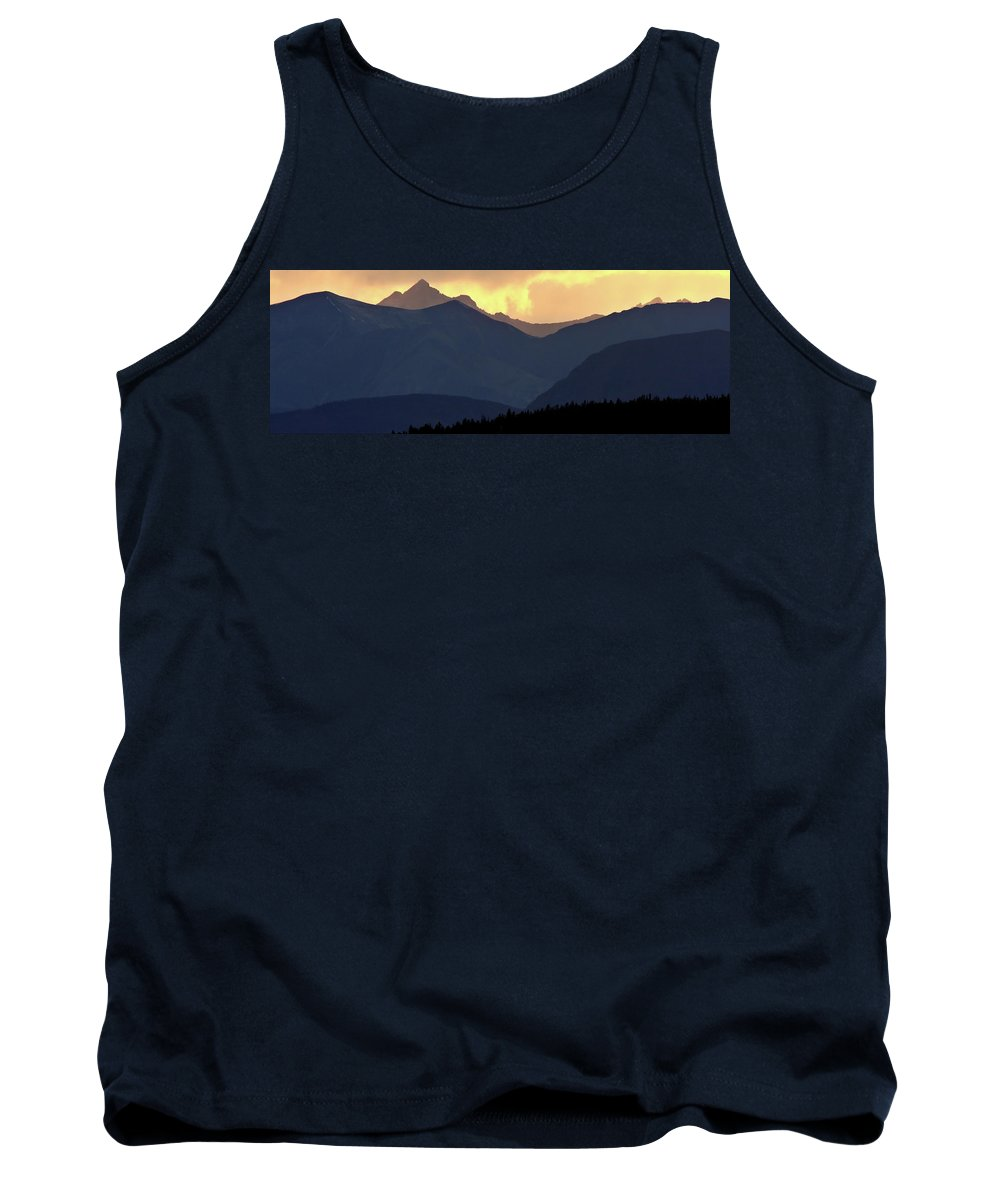 Tank Top featuring the digital art Panoramic Rocky Mountain View At Sunset by Mark Duffy