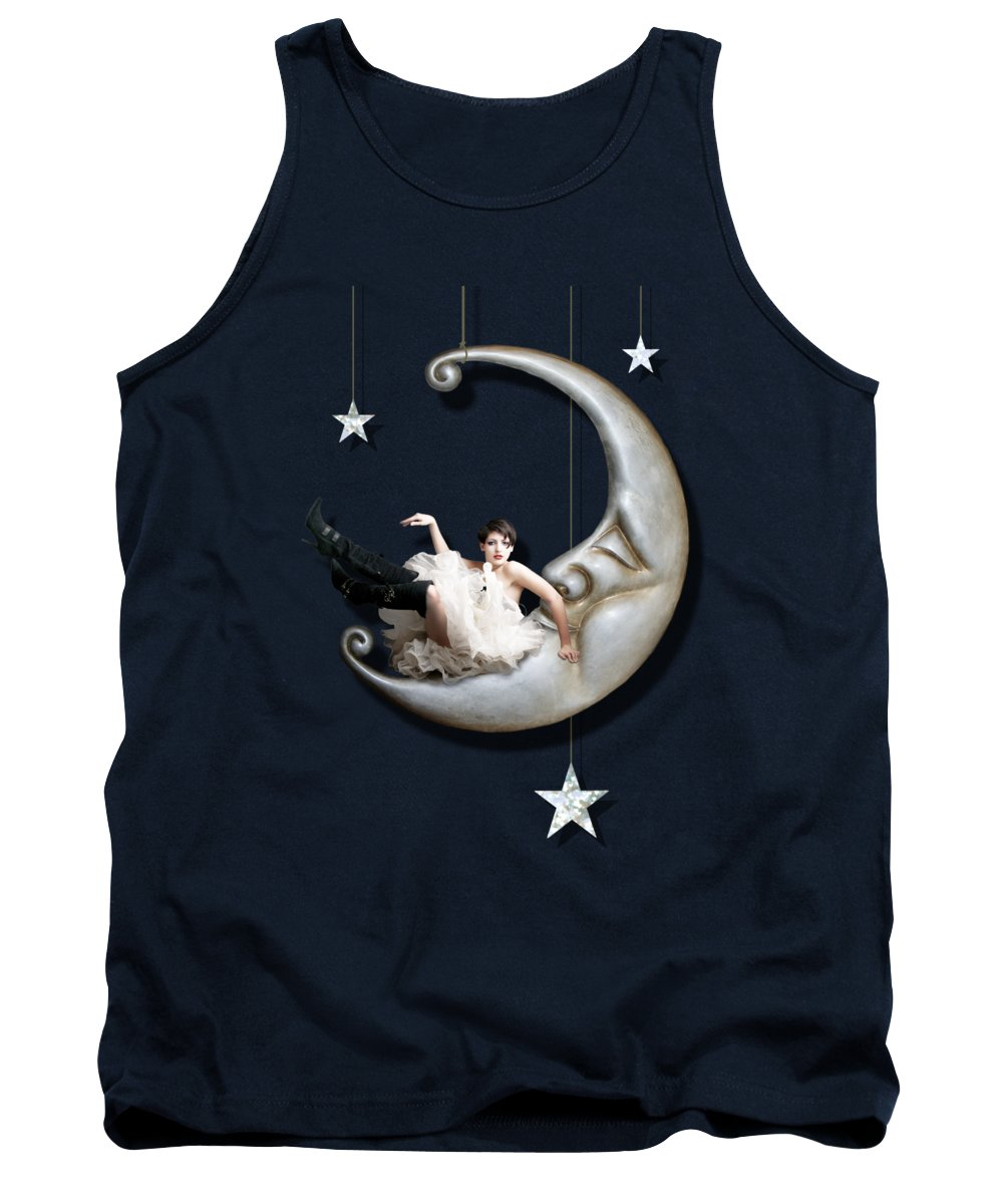 Moon Tank Top featuring the digital art Paper Moon by Linda Lees