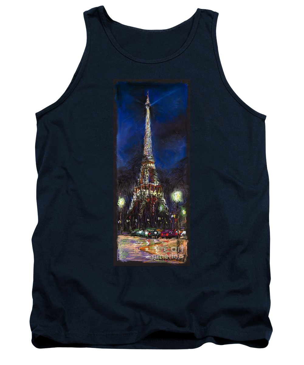 Pastel Tank Top featuring the painting Paris Tour Eiffel by Yuriy Shevchuk