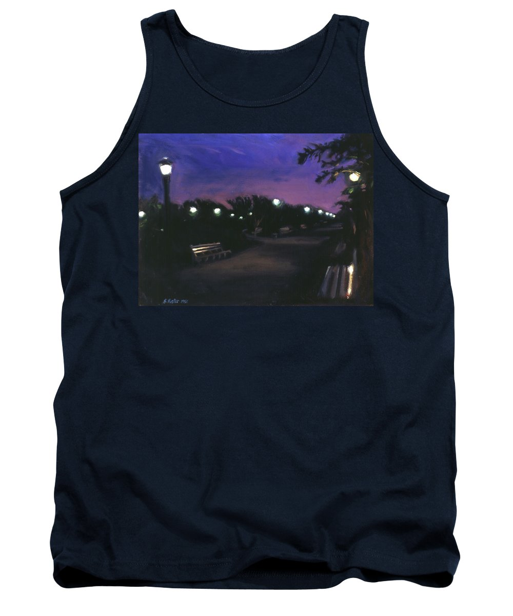 Dusk Tank Top featuring the painting Park At Dusk by Sarah Yuster