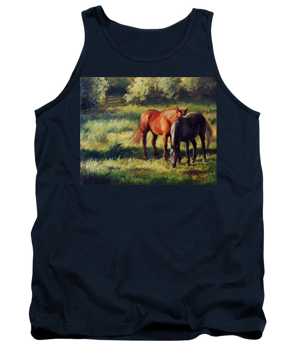 Horse Tank Top featuring the painting Pasture At Whites Crossing   Horse Painting by Kim Corpany