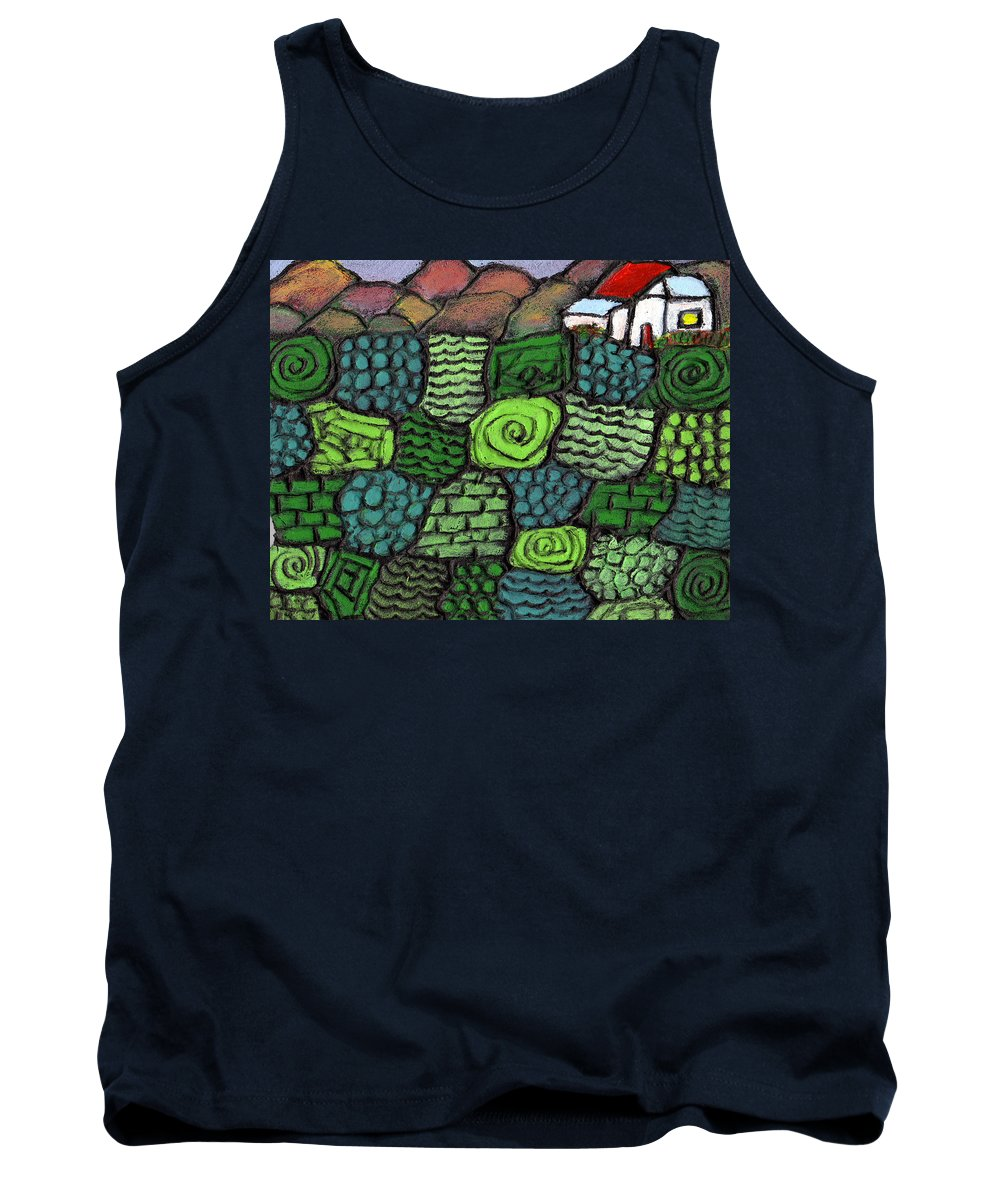 Green Tank Top featuring the painting Patches Of Green by Wayne Potrafka