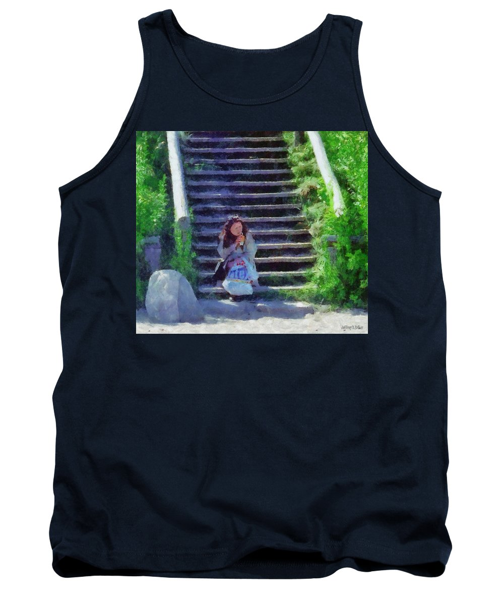 Woman Tank Top featuring the painting Patiently Waiting by Jeffrey Kolker