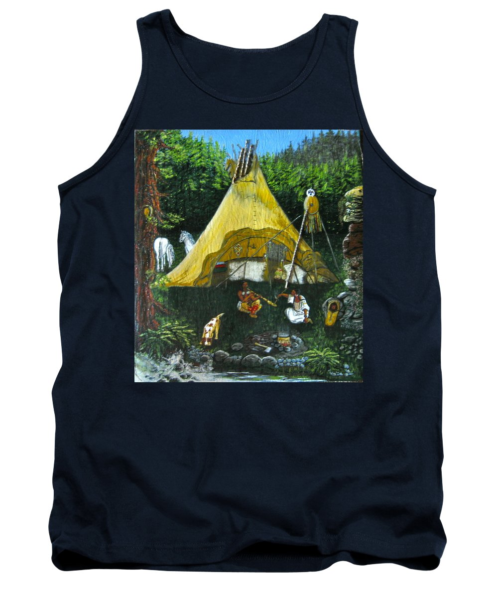 American Indians Tank Top featuring the painting Peace Smoke At Sundown by V Boge