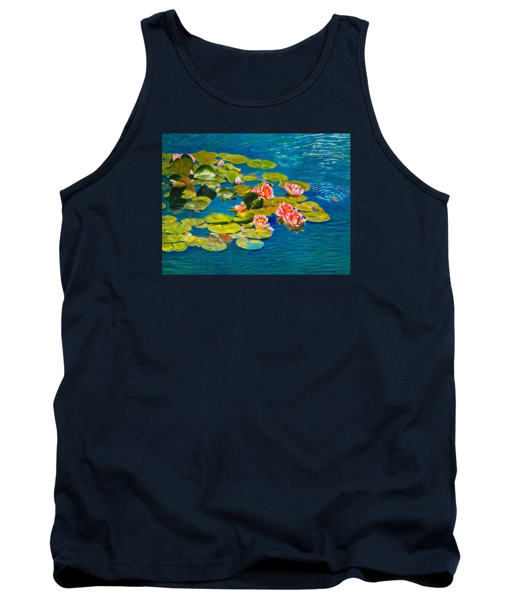Water Lilies Tank Top featuring the painting Peaceful Belonging by Michael Durst