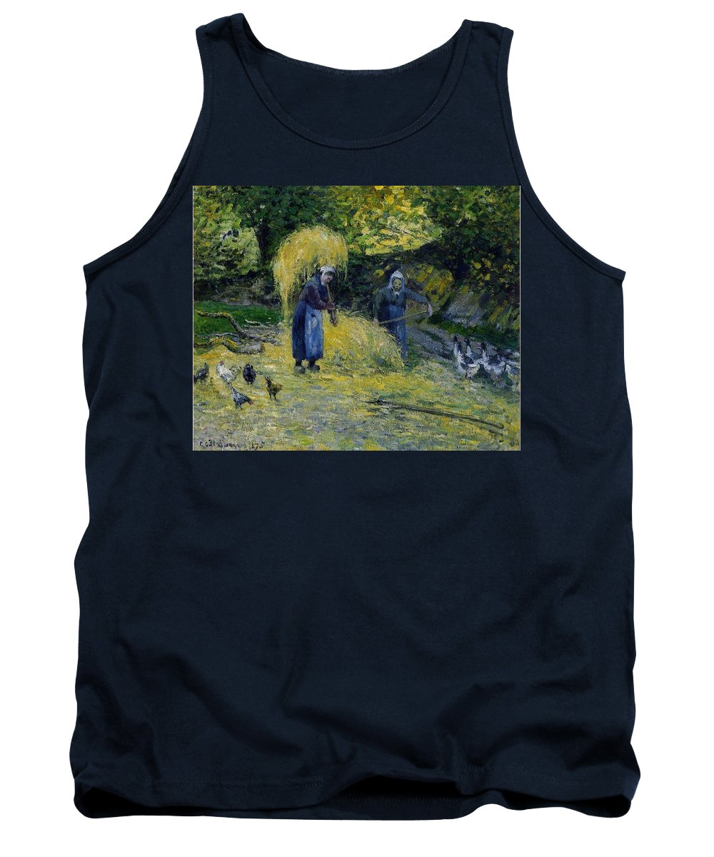 Tree Tank Top featuring the digital art Peasants Carrying Straw Montfoucault 1875 Camille Pissarro by Eloisa Mannion