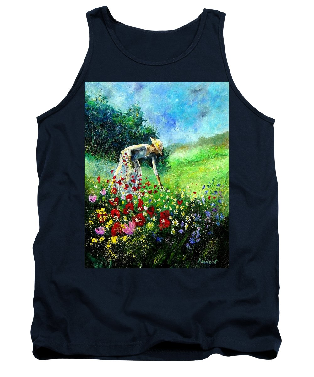 Poppies Tank Top featuring the painting Picking Flower by Pol Ledent